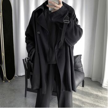 2019 Autumn And Winter New Youth Solid Color Loose Large Size Windbreaker Fashion Casual Single-breasted Jacket Coat Black M-XL фото