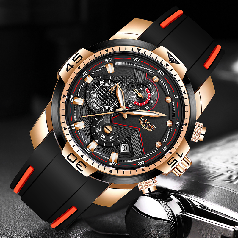 2020 LIGE Sport Watch Men Top Brand Luxury Chronograph Silicone Strap Quartz Mens Watches Waterproof Clock Relogio Masculino+Box 2