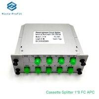 10PCS/lot FC APC 1X8 FTTH Insertion type Fiber Optic Splitter Optical Coupler FC cassette type gpon optical splitter