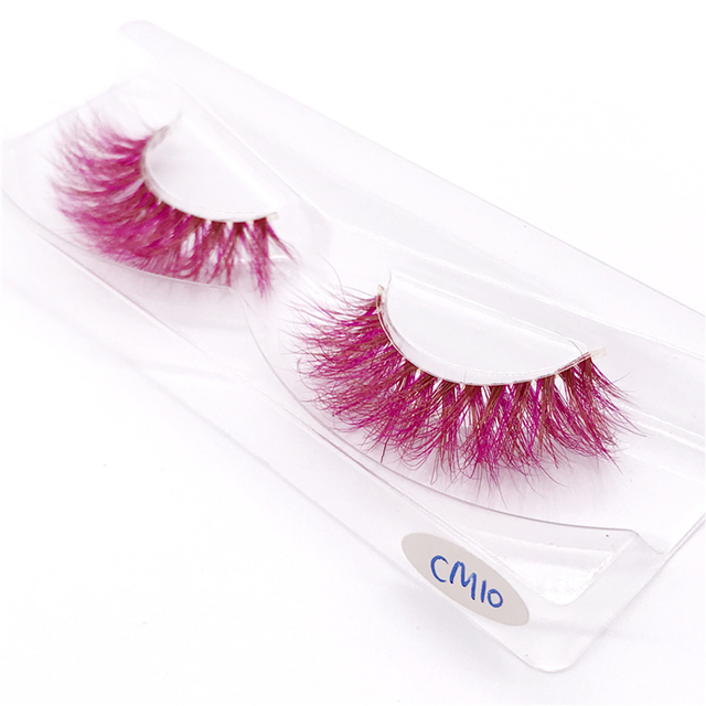 New 9D red mink color lashes wholesale natural long fluffy individual dramatic colorful false eyelashes Makeup Extension Tools 6