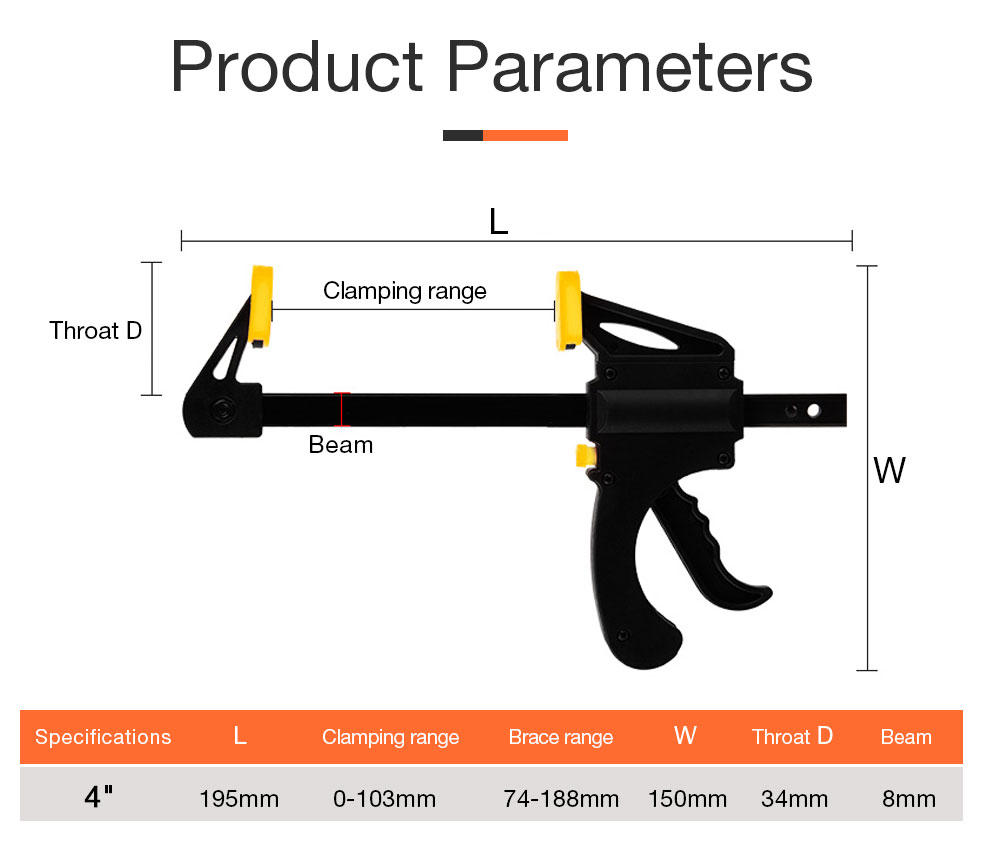 AI-ROADNew Woodworking Clamp Bar product parameters