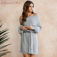 Sexy Knitted Dress Women Off Shoulder Long Sleeve Solid Bodycon Dresses Elegant Office Lady Sweater Dress Vestidos winter off shoulder long sleeve knitted dresses women sweater sexy evening party bodycon dress vestidos de festa ol