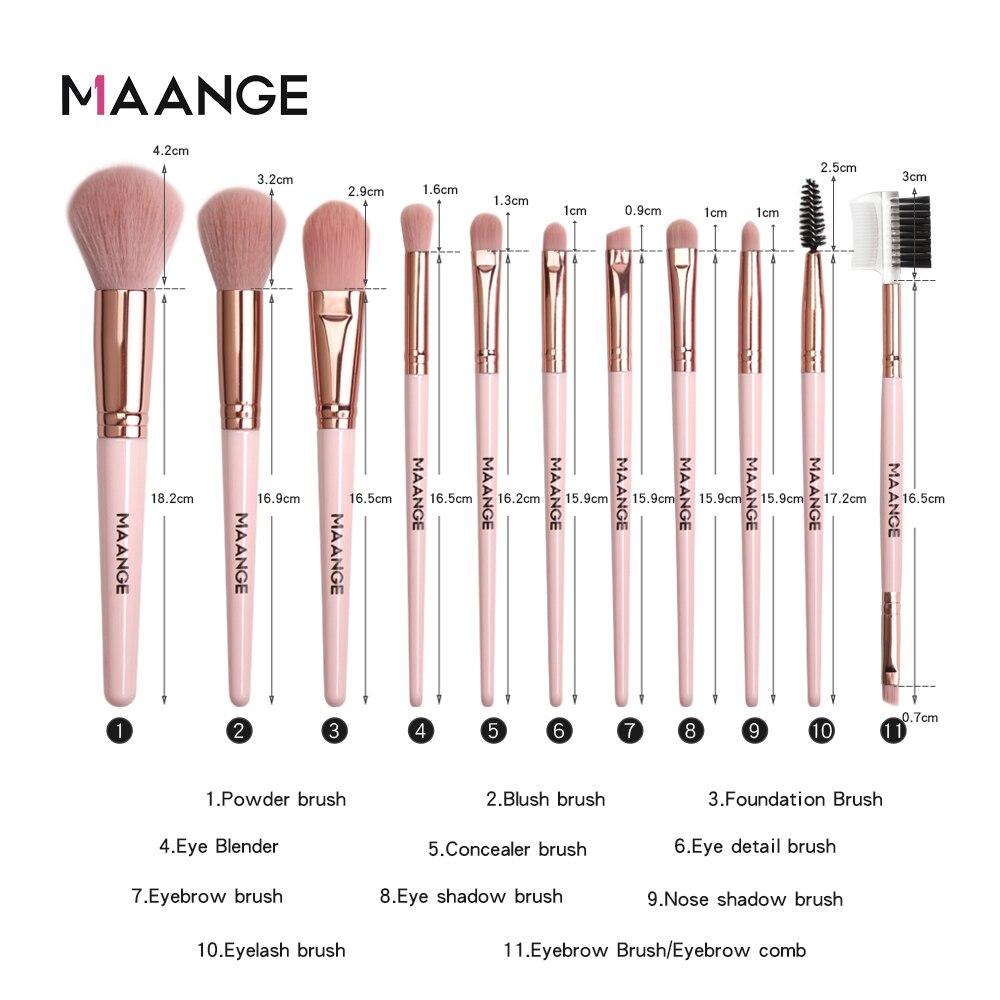 MAANGE Makeup Brushes Pro Pink Brush Set Powder EyeShadow Blending Eyeliner Eyelash Eyebrow Make up Beauty Cosmestic Brushes 5
