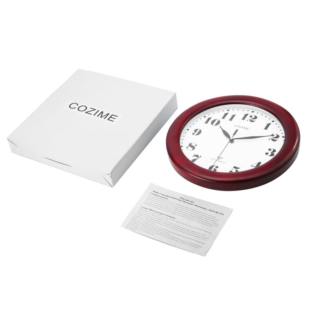 Wine Red Pine Wood Acrylic Mirror Round Classicism Style Clock Classic 12