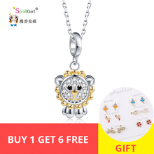 Strollgirl 100% 925 Sterling Silver Little lion Necklaces with CZ Cute Style Exquisite Necklace&Pendant Fashion Jewelry For Gift pendant polar bear 2017 new fashion glam 925 silver jewelry thomas style sterling necklace cute gift for ts soul woman