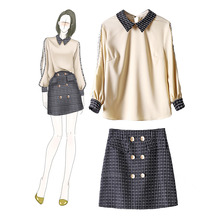 Large Size High Quality Women Casual Two Piece Set Contrast Turn-down Collar Blouse and Mini Skirt with Button Ladies 2 Piece