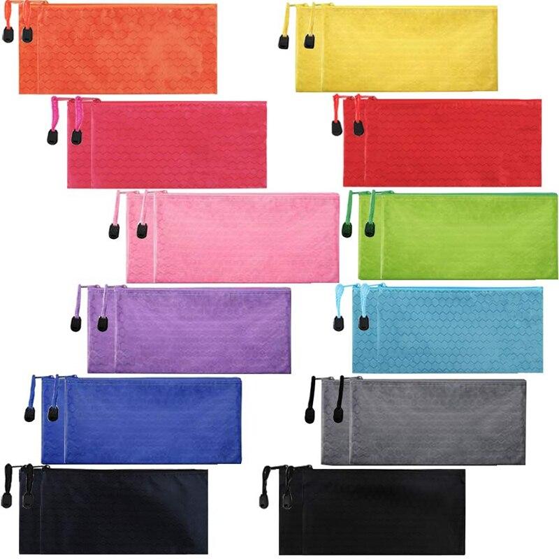 24Pcs Zipper Waterproof File Bag Pencil Pouch Pen Case, For Office Supplies Travel Accessories Cosmetic, Random Colors