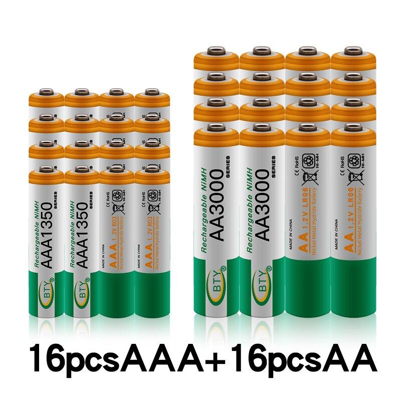 100% nowy 1.2 V AA 3000mAh NI-MH akumulatory + bateria AAA 1350 mAh akumulator NI-MH 1.2 V AAA