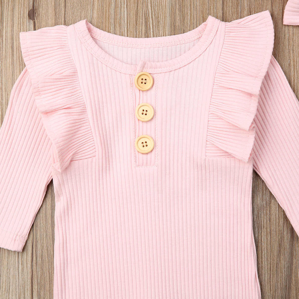 Newborn Baby Boy Girl Long Sleeve Romper Jumpsuit Solid Overall Headband Infant Toddlers Autumn Knitted Clothes Set