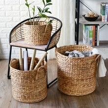 Natural hand woven woven seaweed belly storage basket flower pot folding basket weaving hamper basket fruit basket WY418
