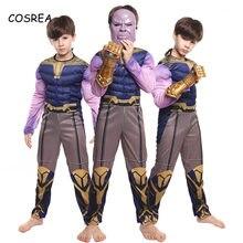Thanos muscle costume cosplay crianças endgame super-herói traje criança halloween thanos traje zentai carnaval terno