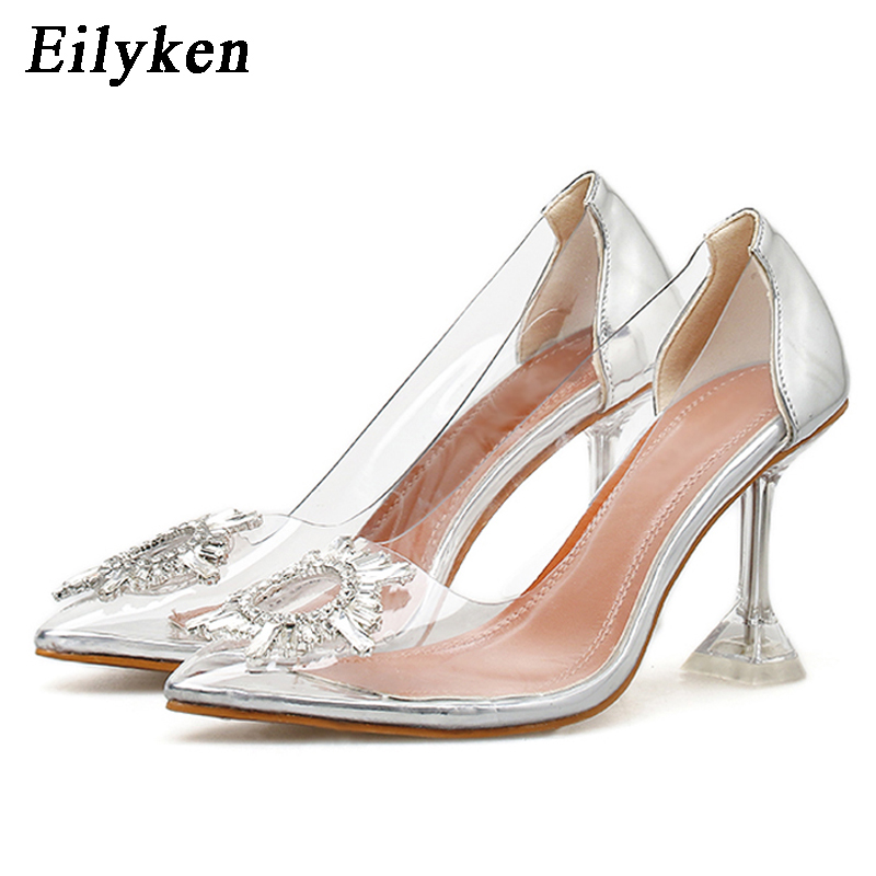 Eilyken Pvc Clear Silver Diamond Transparent Sexy Women Shoes Rhinestones Scarpin Crystal Pumps Prom Pointed Toe High Heels