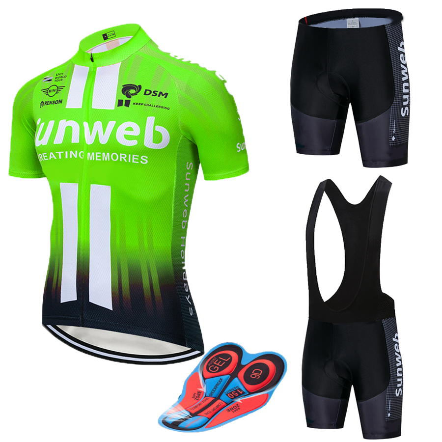 Flour SUNWEB Cycling team Clothing Bike jersey 12D bike shorts Ropa Ciclismo Quick Dry Mens summer BICYCLING Maillot Culotte set|Cycling Sets|   - title=