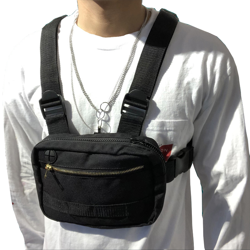 Men Hip-Hop Chest Bag Outdoor Oxford Tactical Streetwear Vest Chest Rig Bags Women Functional Military Small Chest Pack G108