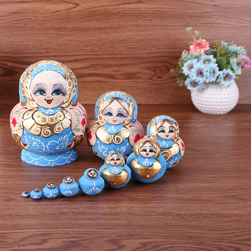Holz Matryoshka Puppen Russian Nesting Dolls Blau Farbe Gemalt Nesting Spielzeug Hause Dekoration Ornament Anhänger Geschenke Set