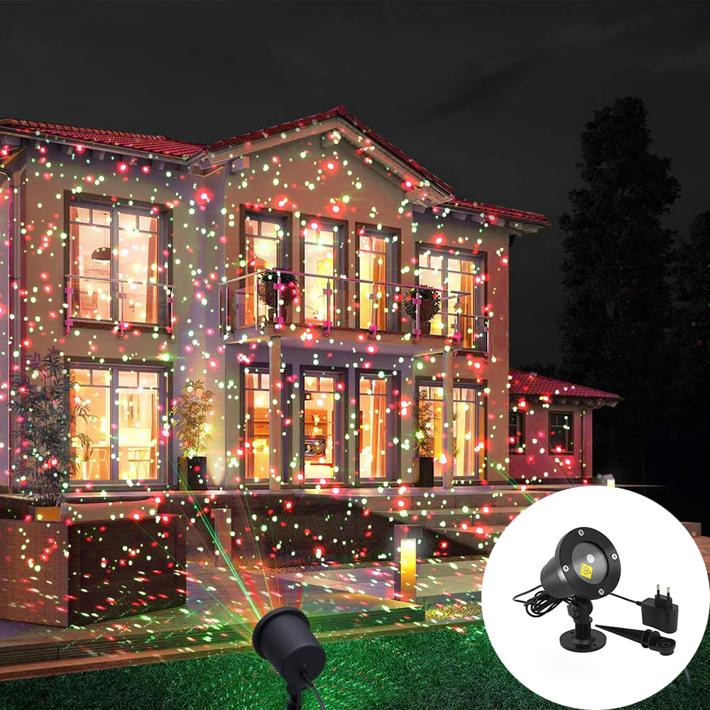 LED Red&Green Full Sky Star Landscape Stage Light IP65 Outdoor Moving Starry Laser Projector Light  For Garden Yard Party Decor
