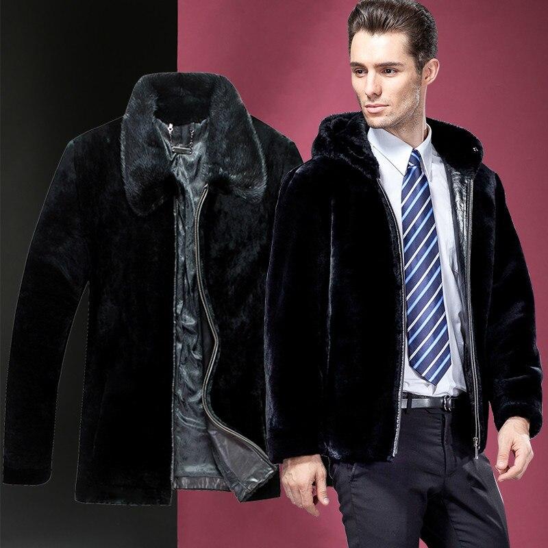 Real Fur Coat Sheep Shearling Natural Wool Fur Coat Autumn Winter Jacket Men Mink Fur Collar Hooded Jacket S14D315 KJ863
