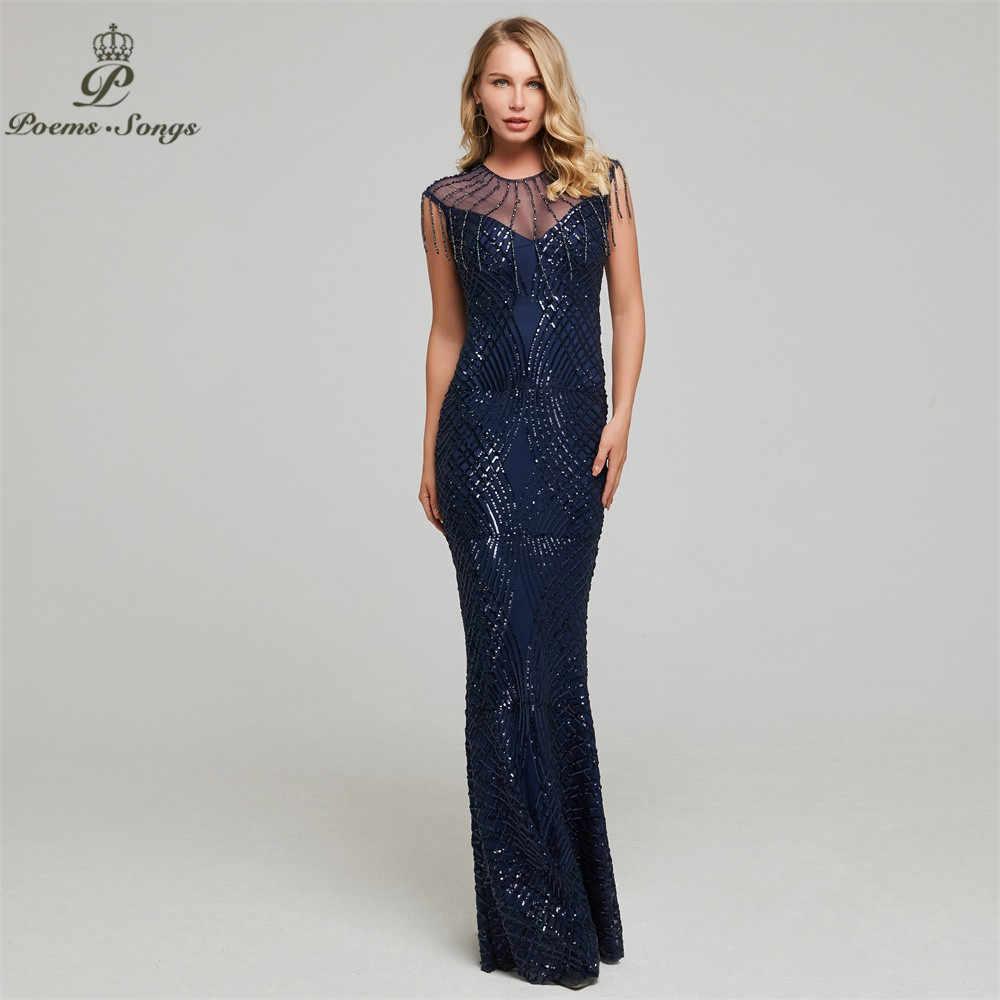 Nieuwe Sexy Pailletten Avondjurk Voor Vrouwen Kralen Maxi Jurk Vestido De Festa Formele Mermaid Robe De Soiree Party Prom jurk
