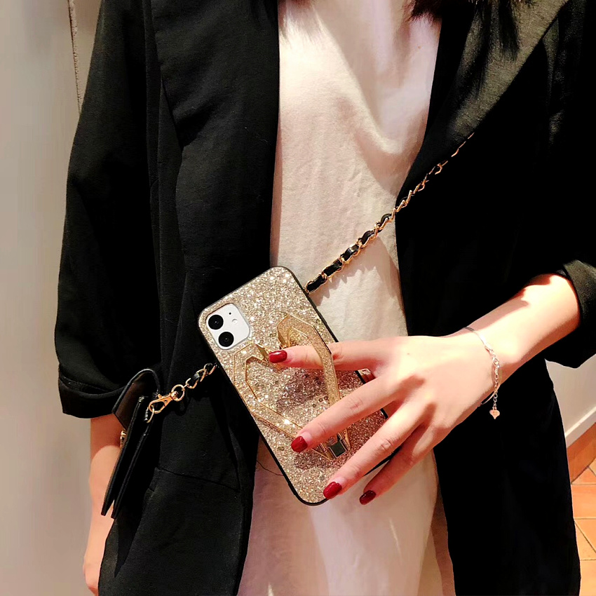 3D Fashion Love Metal Stand Cases For iPhone 11 Pro 11 Pro Max X XR XS MAX 8 7 Plus Luxury Glitter Bling Leather Phone Case Capa (7)