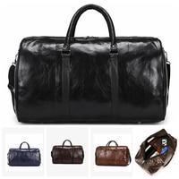 Leder Reisetasche Große Duffle Unabhängige Große Fitness Taschen Handtasche Tasche Gepäck Schulter Tasche Schwarz Männer Fashion Zipper Pu