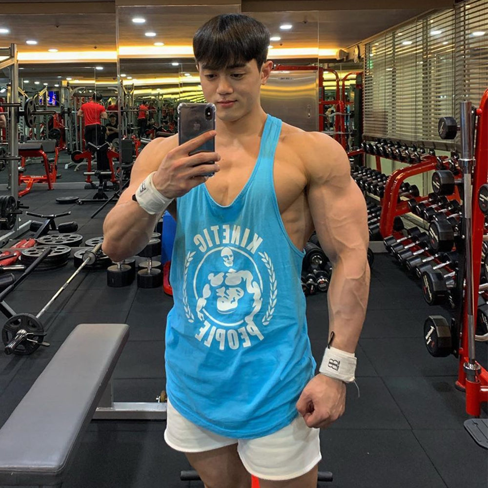 Gym Sleeveless Shirt Men Bodybuilding Tank Tops Fitness Workout Cotton Print Singlet Stringer Undershirt Male Casual Summer Vest