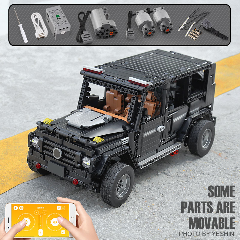 New APP RC G-Glass G500 AWD Wagon SUV Vehicle Fit Technic MOC 2425 Motor Power Function Building Blocks Bricks Toy Kid Birthday 4