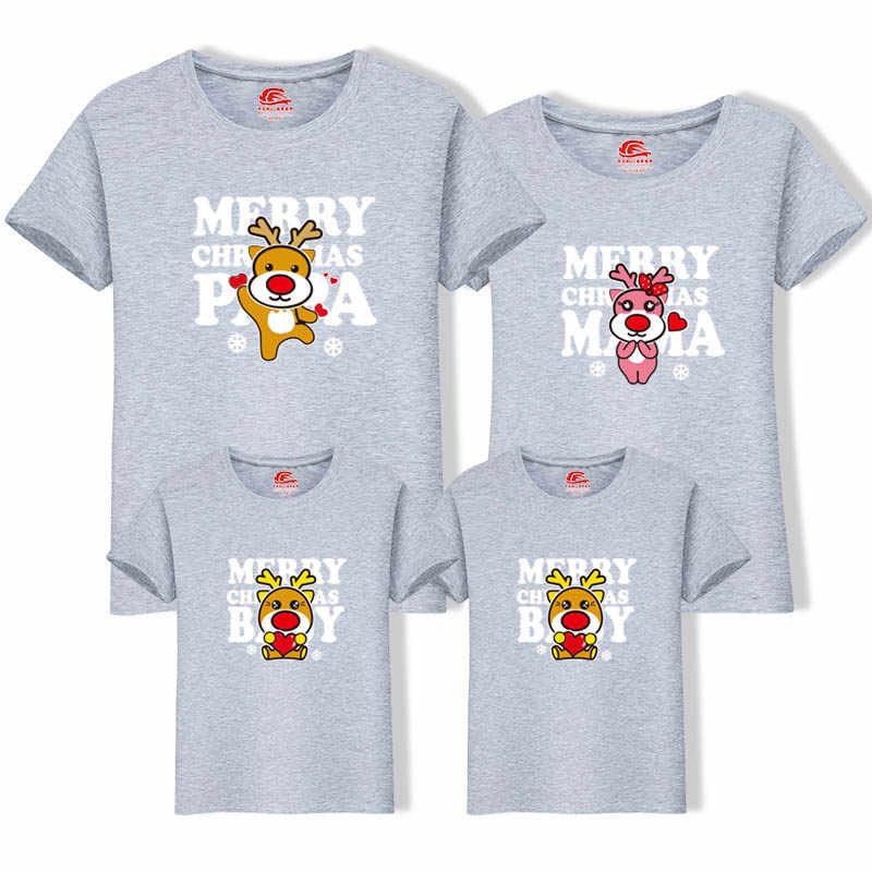 Nova Natal Mãe Roupas Filha Filho Pai Roupas Combinando Família Olha Pai Roupas Da Família Mãe T-Shirt do Menino Dos Desenhos Animados Dos Cervos