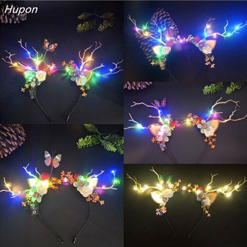 LED Christmas Lights Headbands Cute Antlers Flower Ears Hair Bands for Girls Headband boho Headwear Christmas Decoration navidad