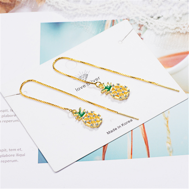 Net red temperament design with diamonds simple personality tassel yellow pineapple long silver plated earrings IR025.png 640x640 - Net red temperament design with diamonds simple personality tassel yellow pineapple long   silver plated earrings IR025