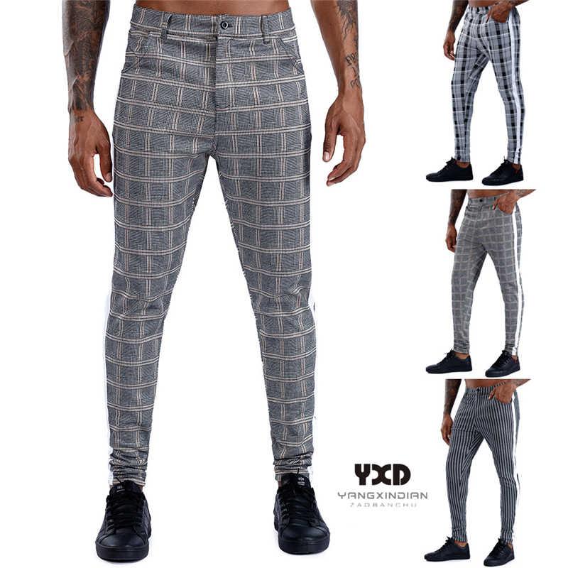 Pantalones Clasicos Ajustados Para Hombre Pantalon Superelastico Chino Informal A Cuadros Color Gris Cintura Elastica A La Moda Envio Directo Pantalones Informales Aliexpress