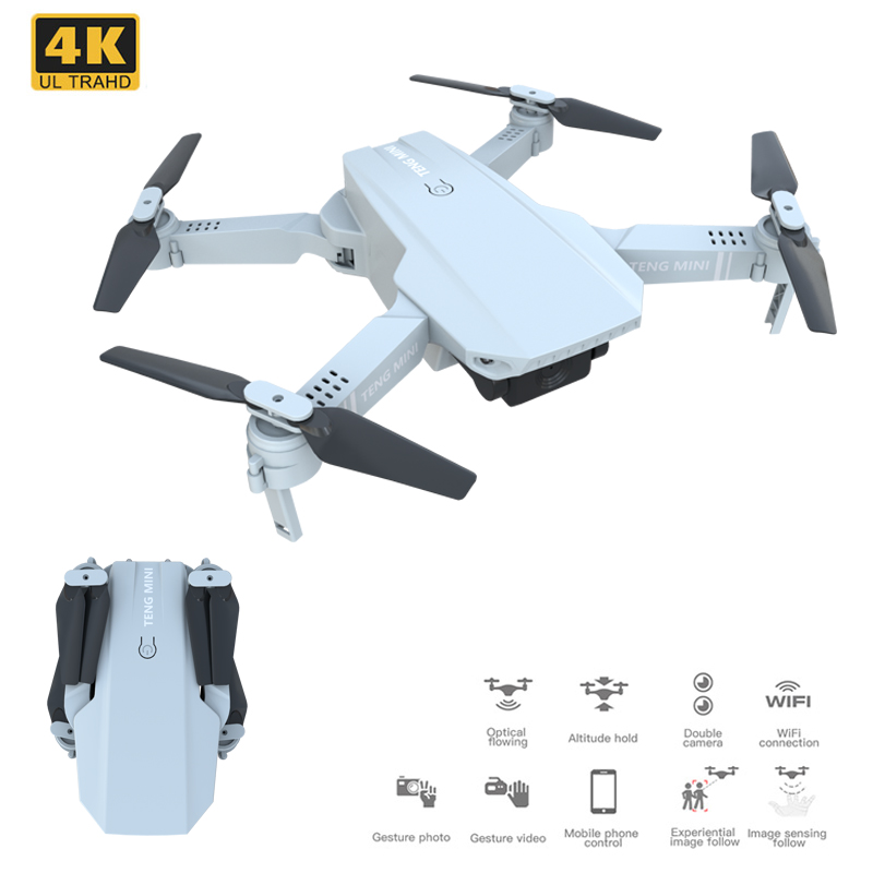 KF609 WiFi FPV New Mini Drone 4K 720P Optical Flow HD Wide Angle Dual Camera Foldable Wing Quadcopter Drones Remote Control Toy