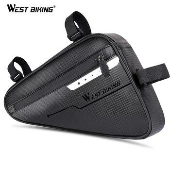 WEST BIKING Waterproof Cycling Tube Bags 3L MTB Road Bike Triangle Bag Cycling Frame Front Bags Repair Tools Pannier Bicycle Bag