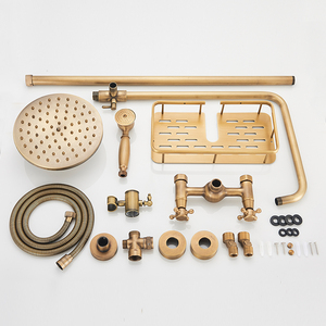 Image 5 - Rozin Brass Antique Bathroom Shower Faucet Set Wall Mount Dual Handle with Handshower + Shelf Brass Bathroom Shower Mixer Tap