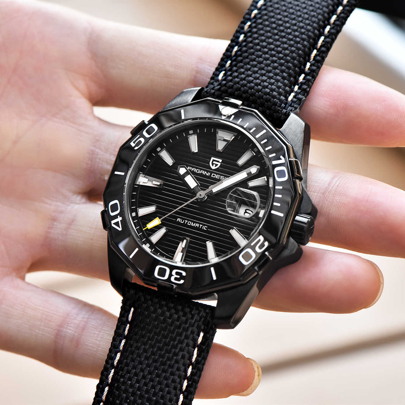 PAGANI DESIGN Men's Classic Diving Series Mechanical Watches Waterproof Steel Stainless Luxury Brand Watch Men Relogio Masculino