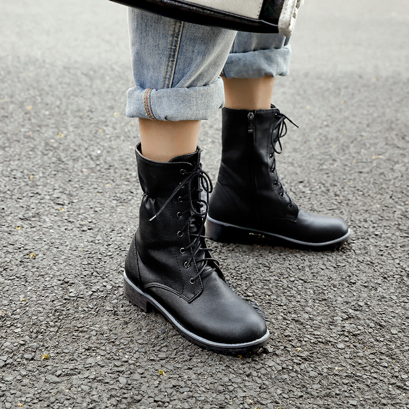 Med Chunky Heels Lace Up White Black Gothic Combat Boots for Women Cross Tied Woman Shoes Autumn Biker Ankle Boots Women