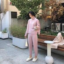 Women Suit Sweatshirts-Sets Turtleneck Long Sleeve Knitted Sweaters Trousers 2PCS Winter Costume
