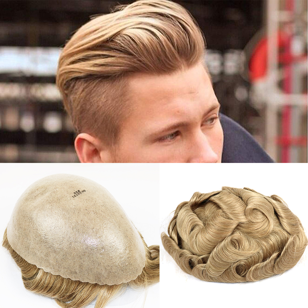Non-surgical 100% Human Hair Replacement Durable Poly Skin Toupee Mens Hair Pieces System