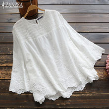 2021 ZANZEA moda dantel üstler kadın sonbahar bluz Casual pilili içi boş Blusas kadın 3/4 kollu gömlek artı boyutu tunik 5XL