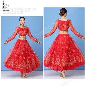 Image 5 - Женский костюм для танца живота, шифоновый топ + пояс + юбка