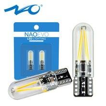 NAO W5W светодиодный светильник T10 5W5 для салона автомобиля SMD 194 168 стеклянная автомобильная лампа накаливания 12 В красный желтый кристалл сини...