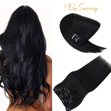 VeSunny Clip in Hair Extensions Remy Human Hair for Women Silky Straight Human Hair Clip in Extensions 120g/7pcs Black
