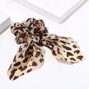 Frauen Streamer Leoparden-print Polka Dot Floral Print Elastische Bogen Haar Seil Mädchen Haar Krawatten Koreanische Süße Haar Zubehör Headwear