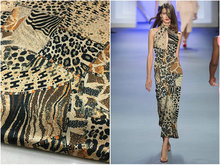 Herringbone silk fabric brand geometric leopard print heavy elastic mulberry natural satin dress fashion 22mm