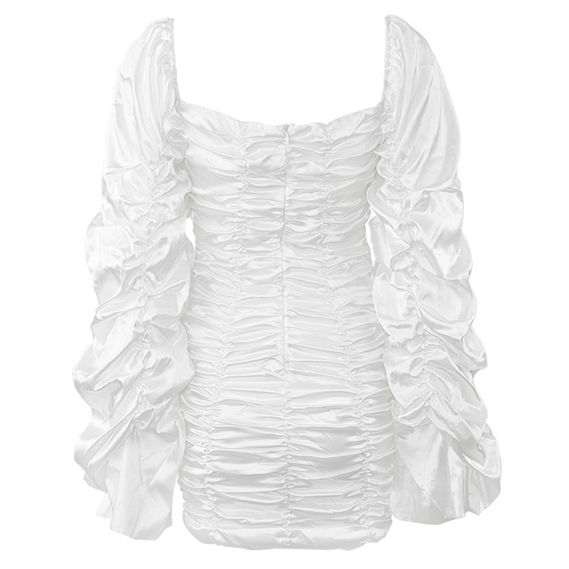 Curve Enhancing White Silk Ruched Mini Dress Kyliejenner Extended Ruched Sleeves Dress with Wrist Slit Opening 5