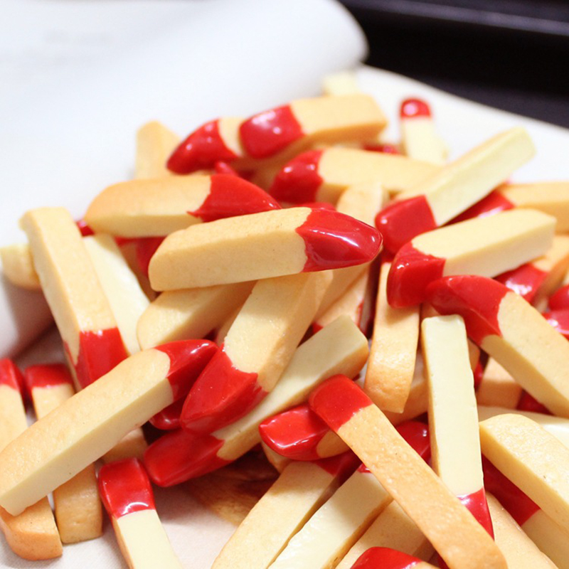 Boxi 10pcs Resin French Fries Slime Additives Charms Cute Pretend Biscuit DIY Kit Accessories For Fluffy Clear Slime