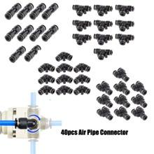 40 adet pnömatik bağlantı parçaları düz itme konnektörü 4 şekiller PU PV PE PY OD 6mm 1/4 ''pnömatik konnektör hava su hortumu tüp gaz