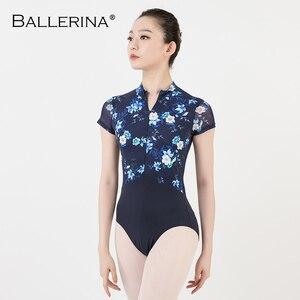 Image 3 - women ballet gymnastics printing Leotards adult black dark blue Turtleneck short sleeve leotard Ballerina 3524
