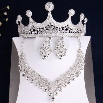 Luksusowe duże Rhinestone tiary naszyjnik z koroną kolczyki komplety biżuterii kwiat z kryształów ślubne nigeryjskie koraliki afrykańskie zestawy biżuterii tanie i dobre opinie George Black Ze stopu cynku Kobiety TRENDY Necklace Earrings Crown Zestawy biżuterii dla nowożeńców Moda HG001 Ślub