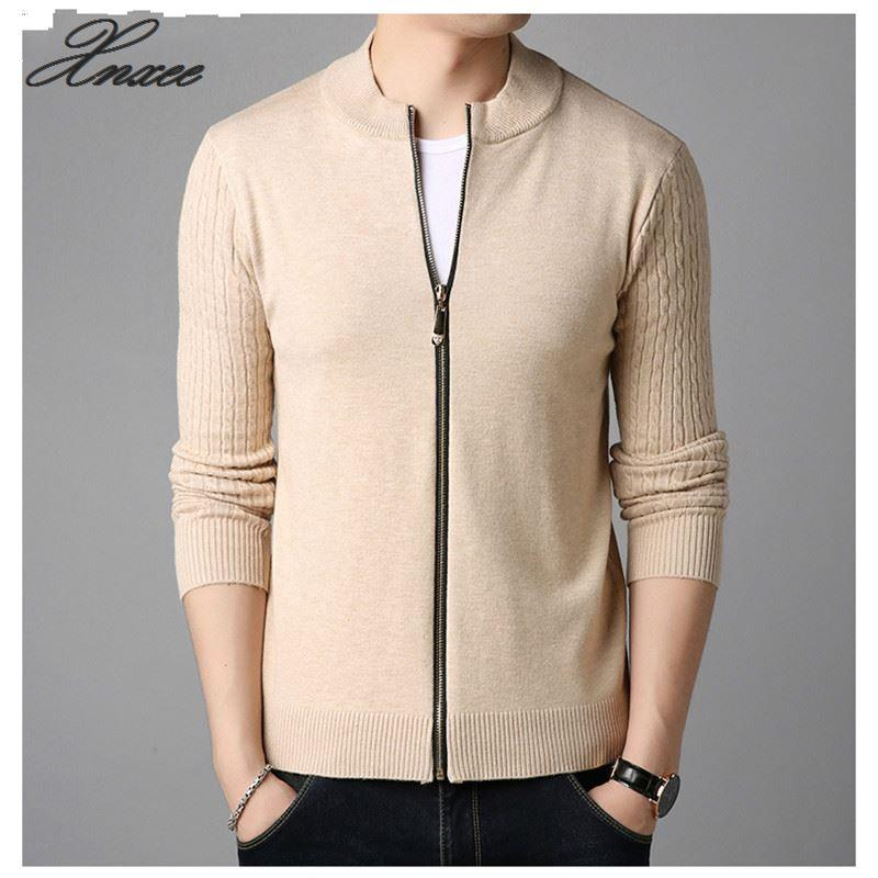 YASUGUOJI New 2020 Autumn Casual Solid Color Slim Cardigan Men Fashion Knitted Patchwork Stand Collar Sweater Men Truien KS12