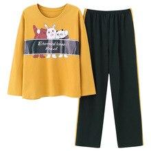 Jimiko woman cotton pajamas autumn long-sleeved suit cartoon printing round neck sleepwear 2 set of casual home clothing